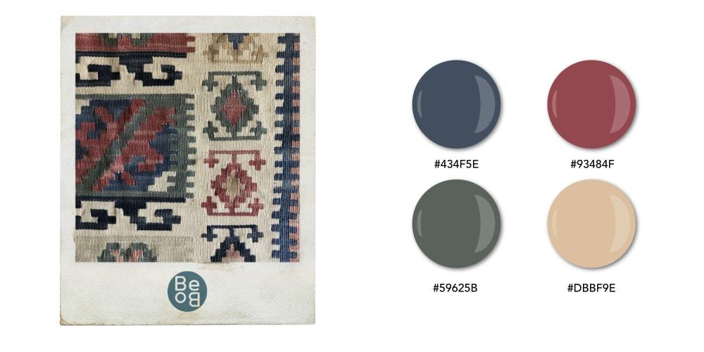 Nuancier aux couleurs masculines et chaleureuses inspiré d'un tapis