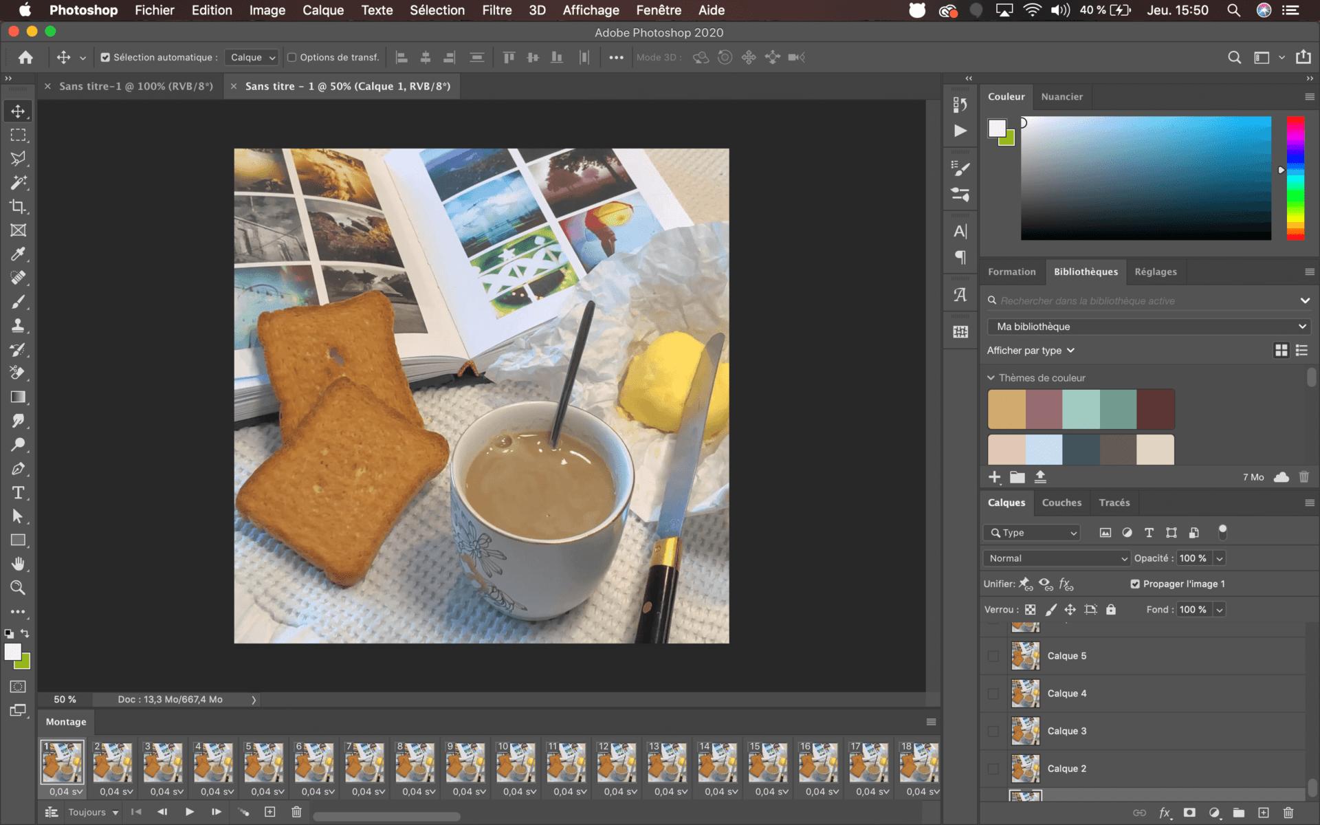 interface de photoshop pour créer un cinemagraph