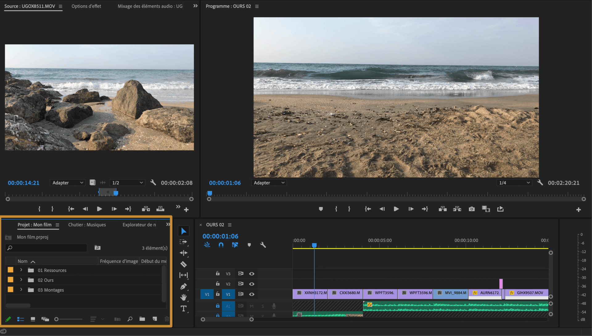 Comment faire une vidéo ? Espace de montage Chutier