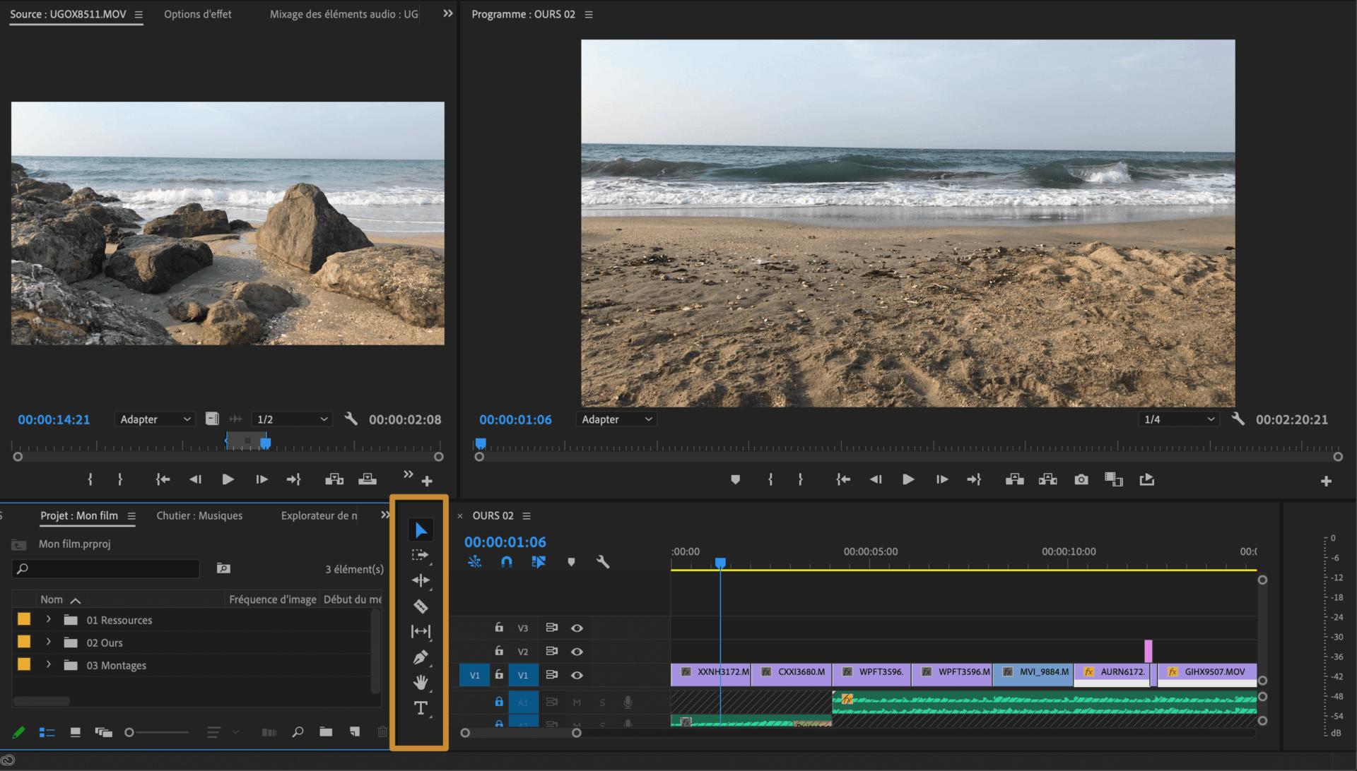 Comment faire une vidéo ? Espace de montage Les outils