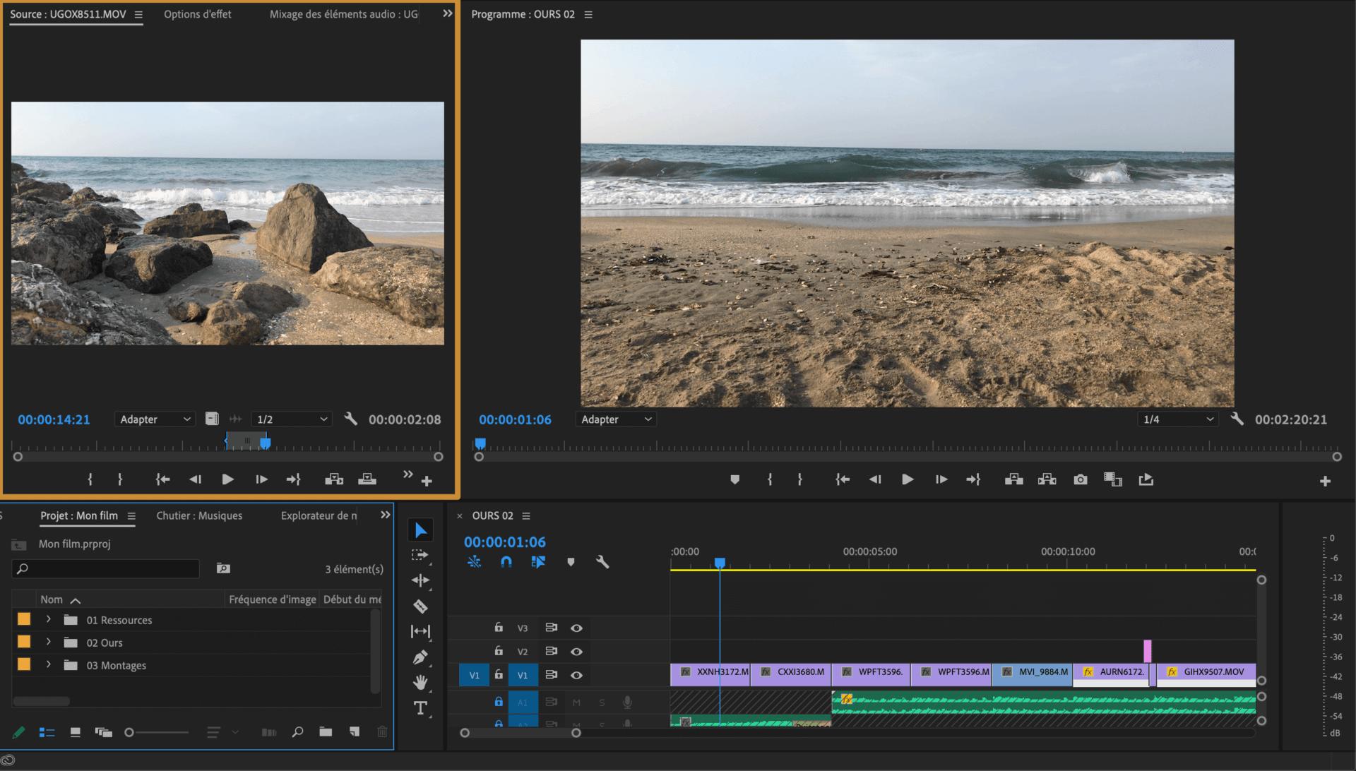 Comment faire une vidéo ? Espace de montage Source