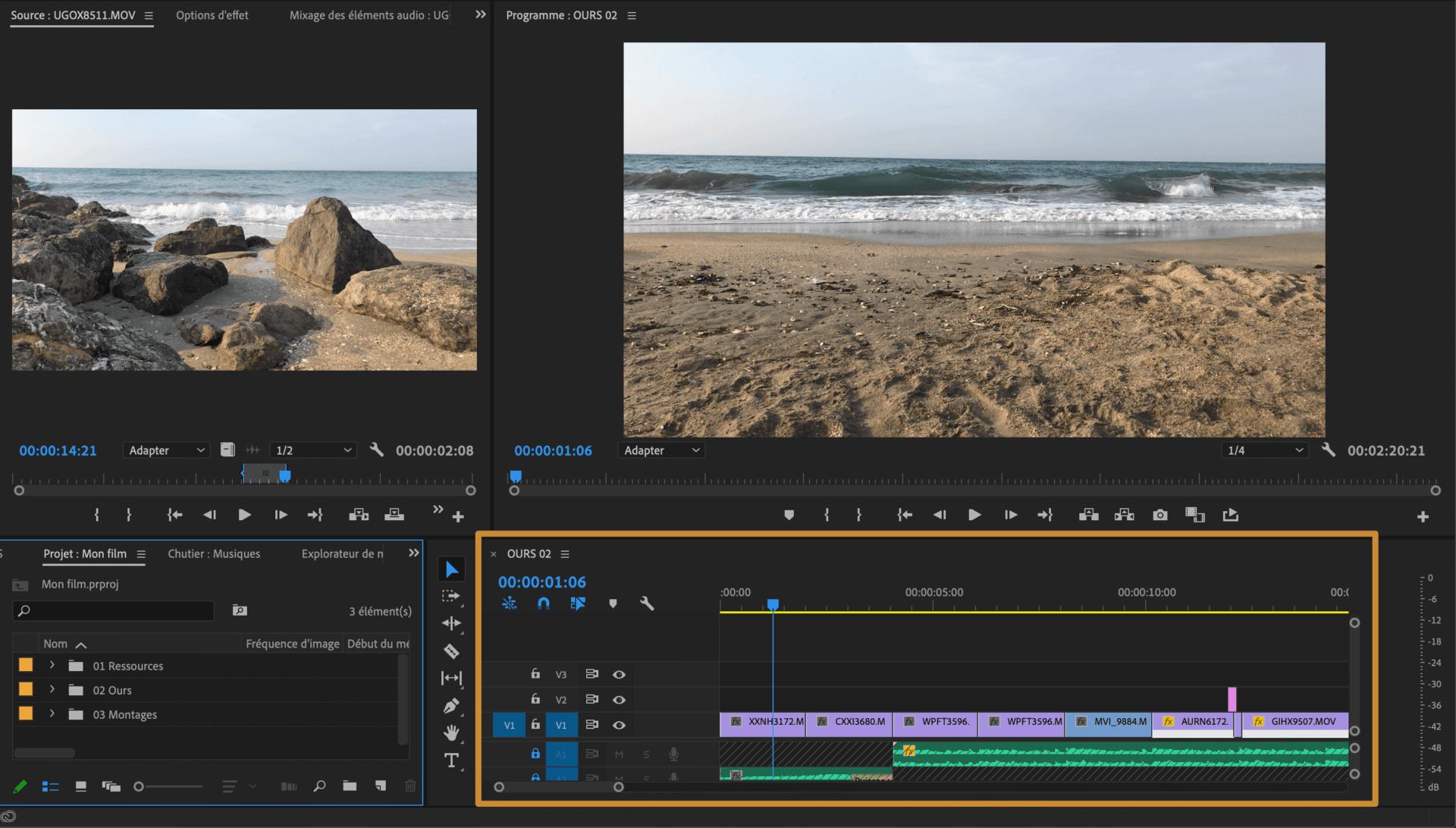 Comment faire une vidéo ? Espace de montage Timeline
