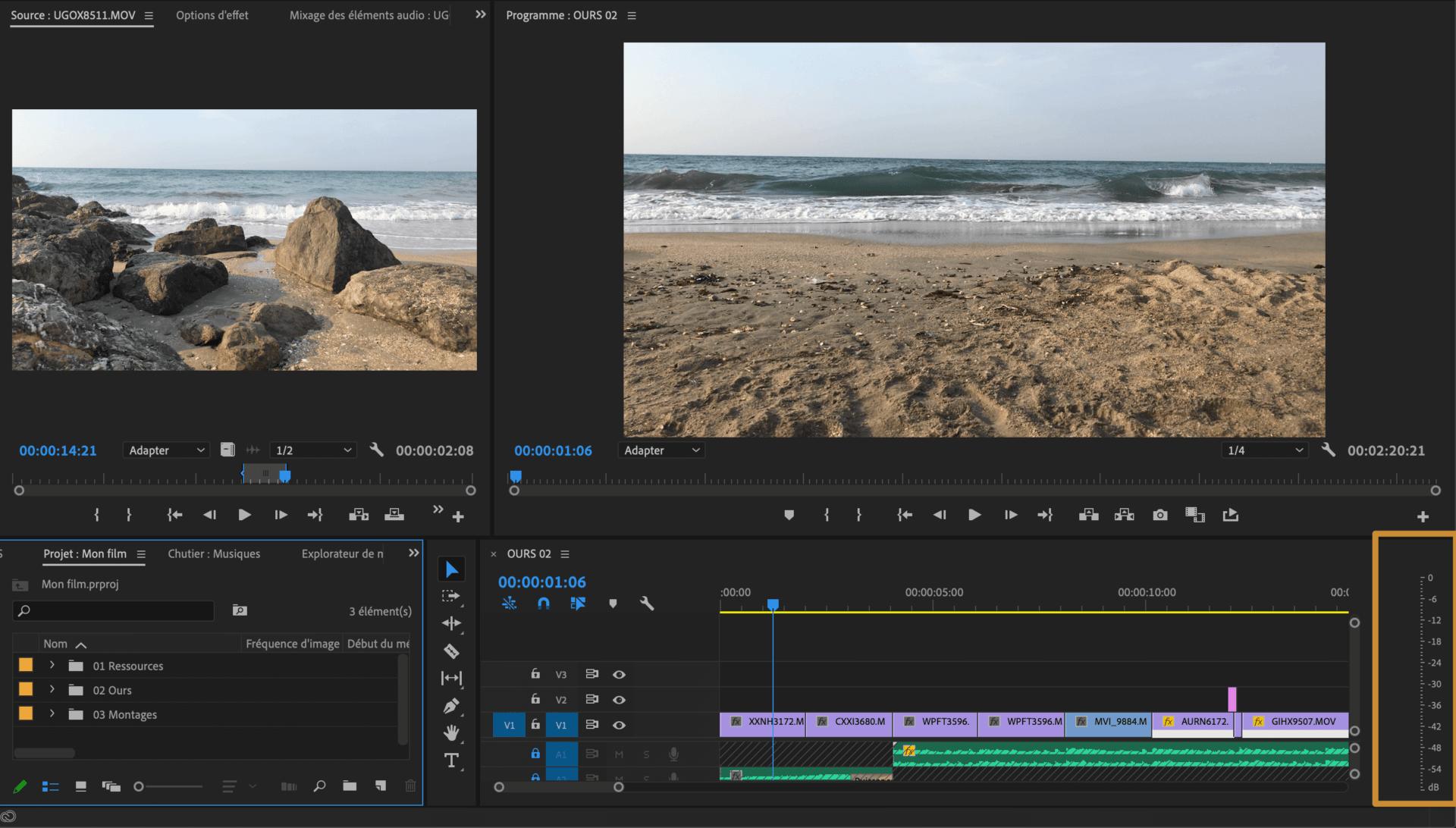 Comment faire une vidéo ? Espace de montage Vu mètre